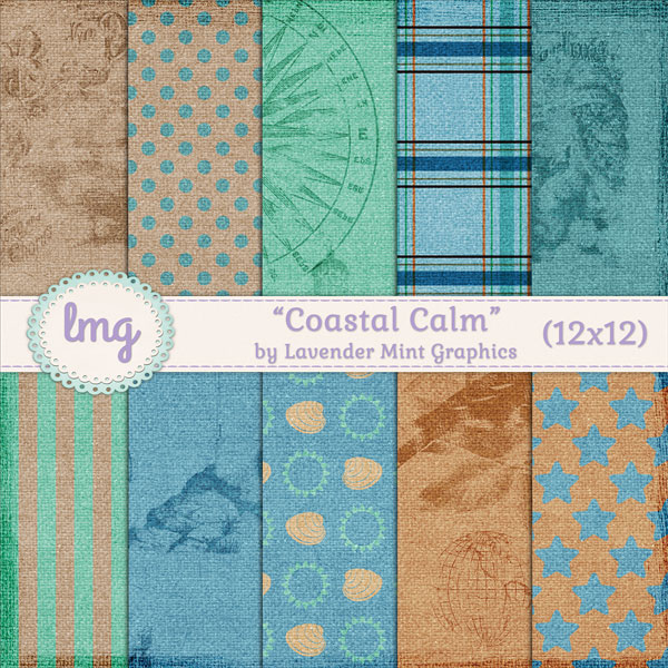 Coastal Calm Digital Scrapbook Papers - Lavender Mint Graphics