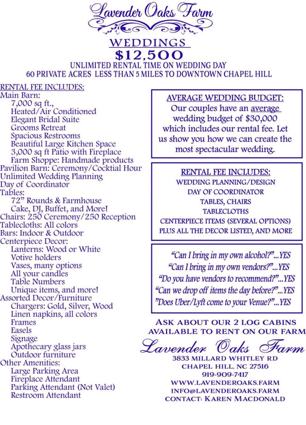 UPDATED 2020 TO 2021 VENUE RATES LAVENDER OAKS FARM