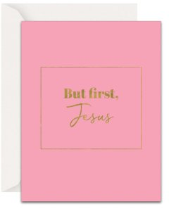 Christian Encouragement Cards - Lavender Vines - But, First Jesus