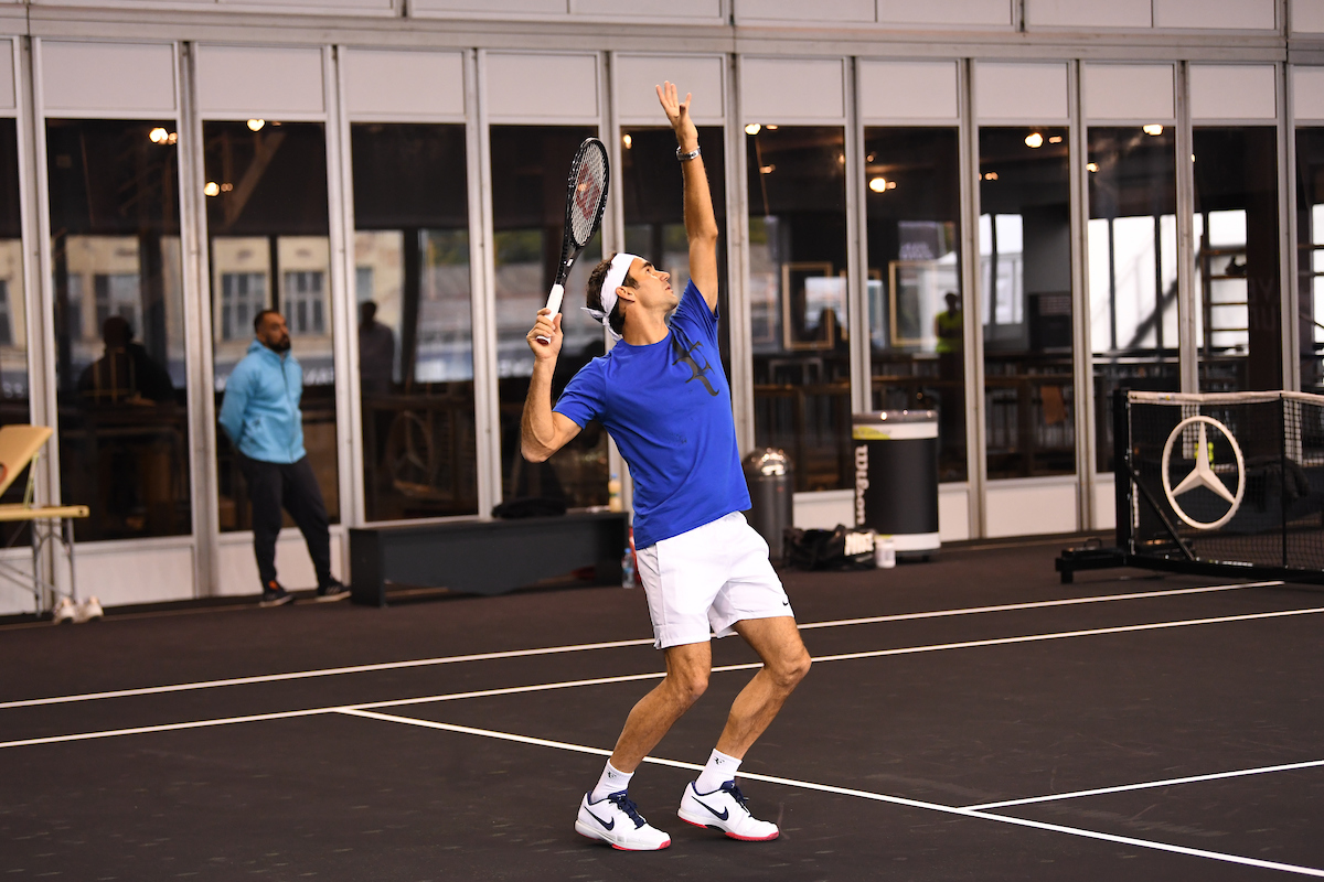 Roger Federer practices at the O2 Arena on Tuesday, September 19, 2017.