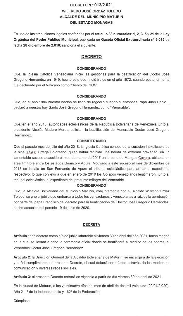 laverdaddemonagas.com en maturin decretan el 30 de abril dia de jubilo en honor a jose gregorio hernandez