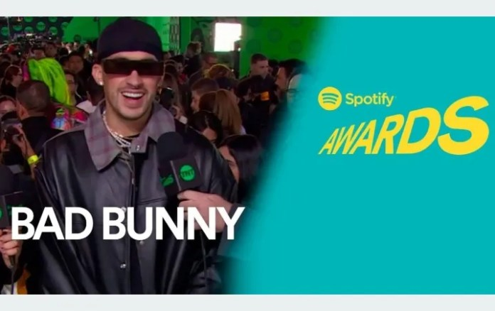 Bad Bunny with a BURNING jacket made of leather is showcased at the Spotify Awards