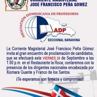 Corriente Magisterial Peña Gómez proclamará candidatos este viernes; invita a docentes