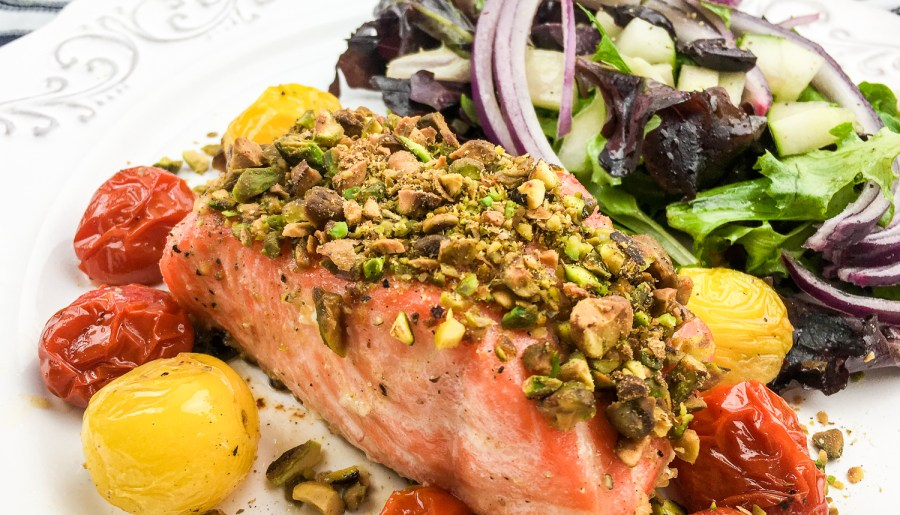 Pistachio-Crusted Salmon with Blistered Cherry Tomatoes