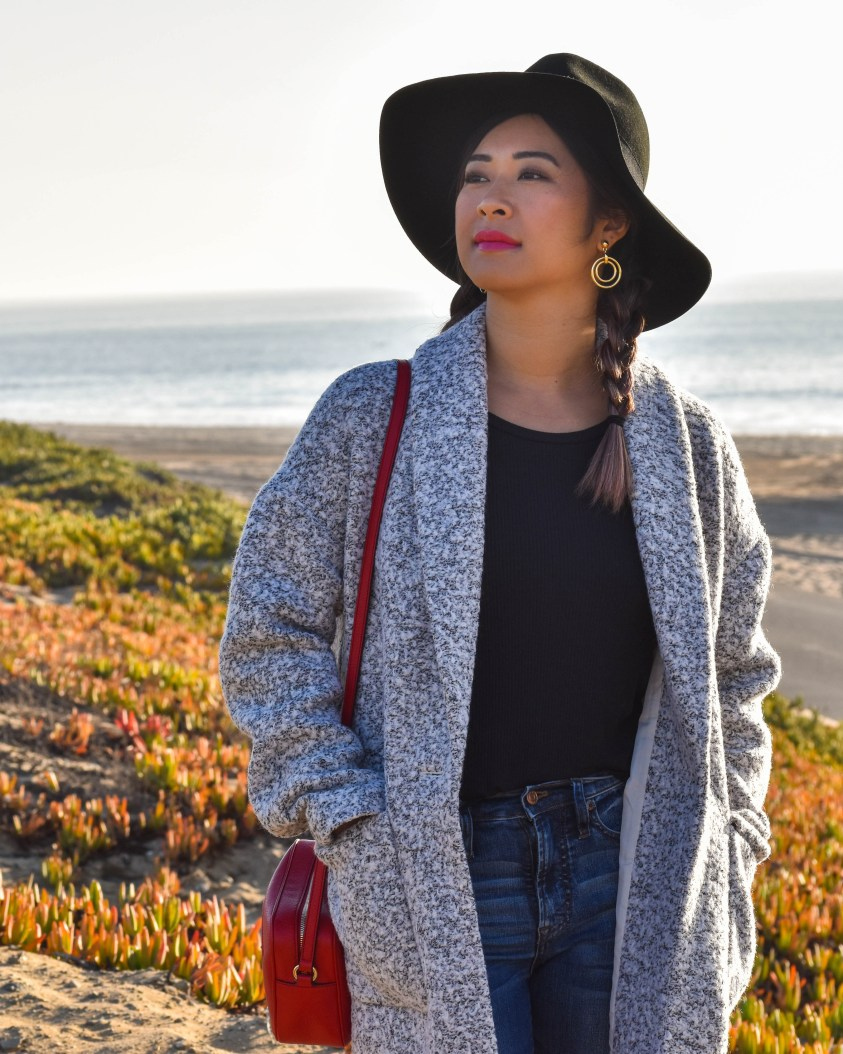 Express Cocoon Coat and J Crew Jeans