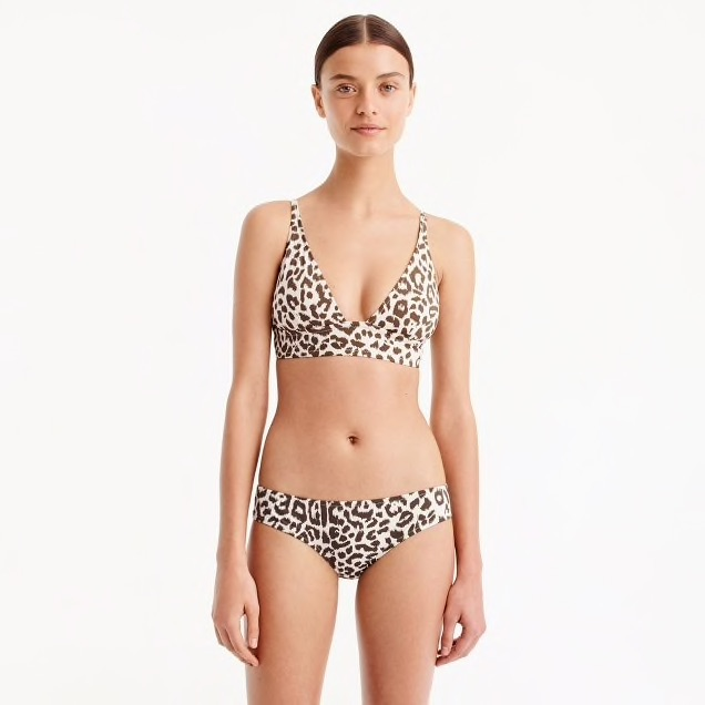 J Crew Swimsuit Deep V-neck French bikini top in leopard print