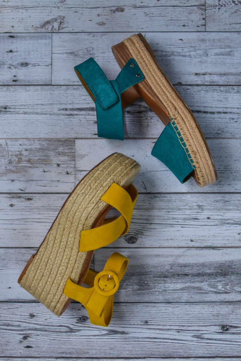 Franco Sarto Oak Calf Hair Espadrille and Halogen Mustard suede espadrille platform sandals