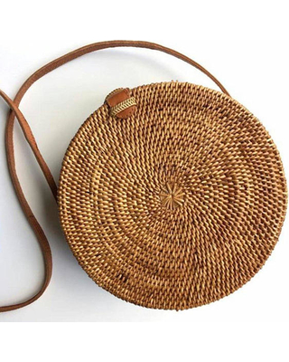 Round Rattan Bag Natural Straw Color