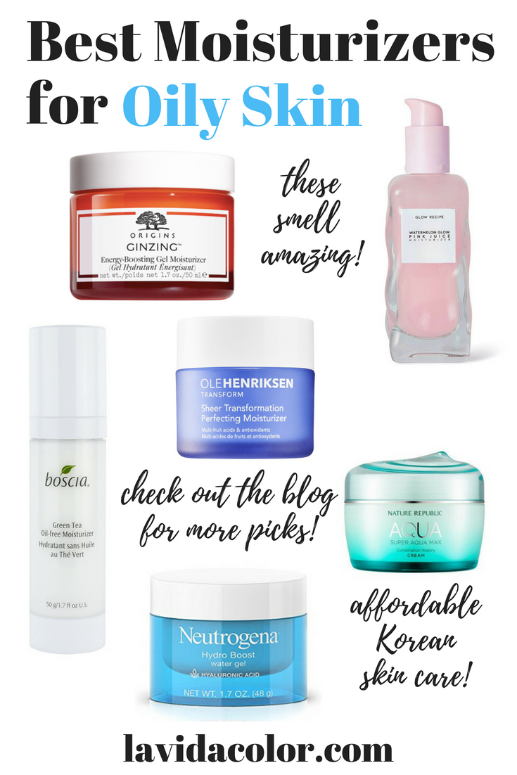 These moisturizers are great for oily skin or acne prone skin! This list includes a variety of moisturizers include gel moisturizers, oil-free moisturizers, drugstore brands, and Korean skincare brands! #oilyskin #oilfreemoisturizer #acneprone #koreanskincare