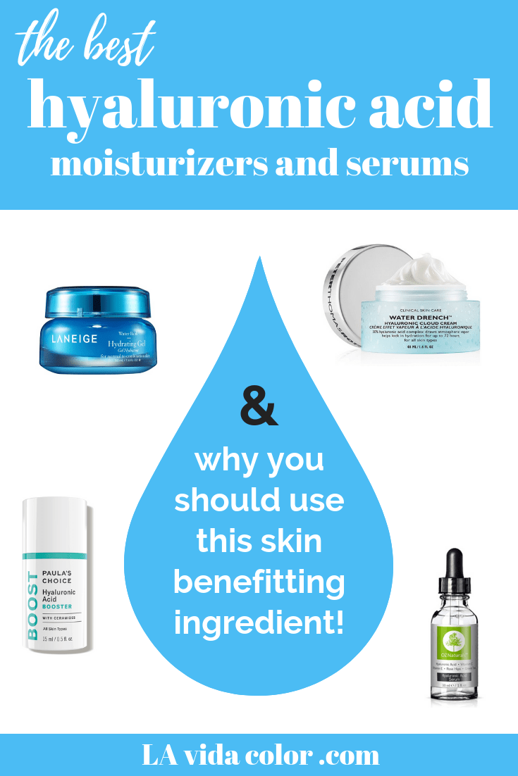There are many benefits to using hyaluronic acid in your skin care routine, including anti-aging, wrinkle repair, and acne healing. Here are the best hyaluronic acid skin care products including serums & moisturizers! #hyaluronicacid #naturalskincare #skincareblog