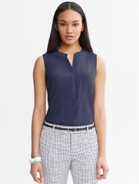 Snap-Front Silk Shell - Basic navy