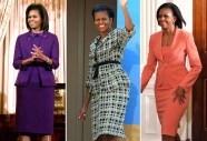 I'm not a major fan of the purple, but the green and peach suits really are beautiful. The green is a very posh, tweed-like executive feel while the peach is a softer, simpler yet elegant design that I think would work for most body types.