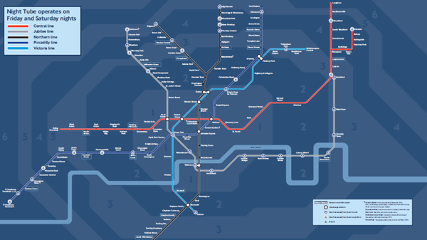 Plan metro londre de nuit