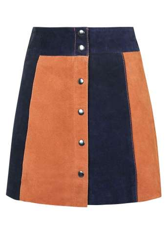 Topshop - Striped suede skirt