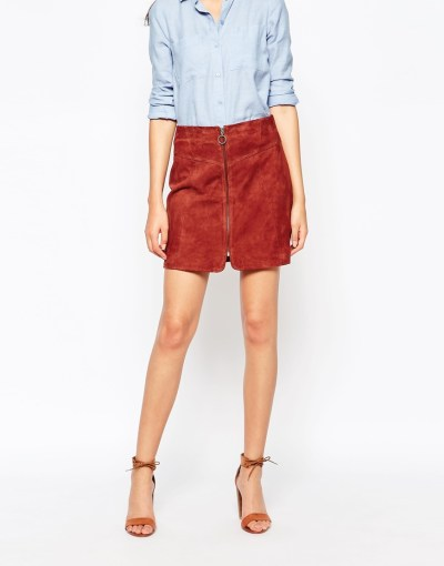ASOS - Y.A.S tall zip through suede skirt