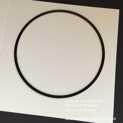 1 Use a circle die to cut a circular aperture in the front of a square white card.