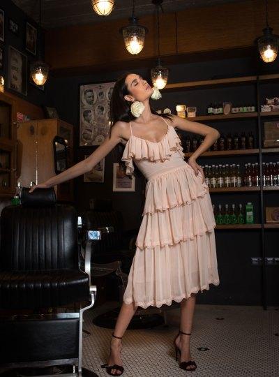 Rochie roz cu dantela NYMPHA