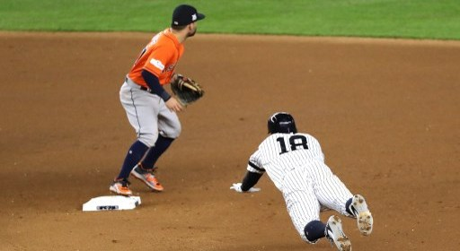 NEW YORK, NY - OCTOBER 18: Jose Altuve #27 of the Houston Astros covers second base as Didi Gregorius #18 of the New York Yankees slides in safely with a double during the seventh inning in Game Five of the American League Championship Series at Yankee Stadium on October 18, 2017 in the Bronx borough of New York City.   Abbie Parr/Getty Images/AFP
