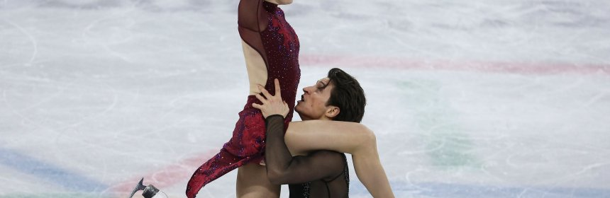 GANGNEUNG, SOUTH KOREA - FEBRUARY 12: Tessa Virtue and Scott Moir of Canada compete in the Ice Dance Free Dance during the Figure Skating Team Event on day three of the PyeongChang 2018 Winter Olympic Games at Gangneung Ice Arena on February 12, 2018 in Gangneung, South Korea. (Photo by Jean Catuffe/Getty Images)
