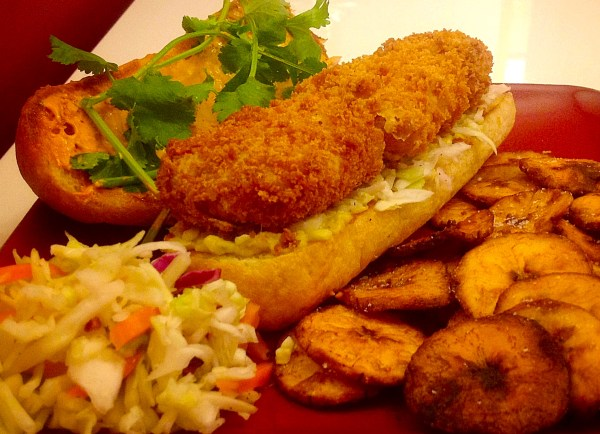 Panko-crusted fish torta with chipotle mayo