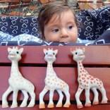 Sophie La Girafe gibt es in unterschiedlichen Farben...