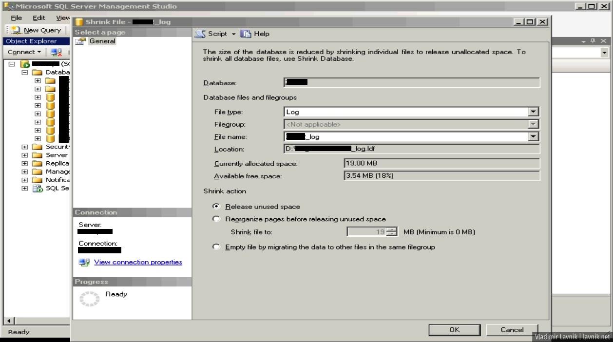 Ошибка СУБД: The transaction log for database is full