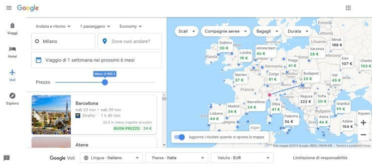 Come usare Google Flights Ricerca su mappa