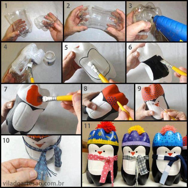 Ghirlanda di bottiglie di plastica. Lavoretti Di Natale Per Bambini Pinguini Con Bottiglie Lavoretti Per Bambini