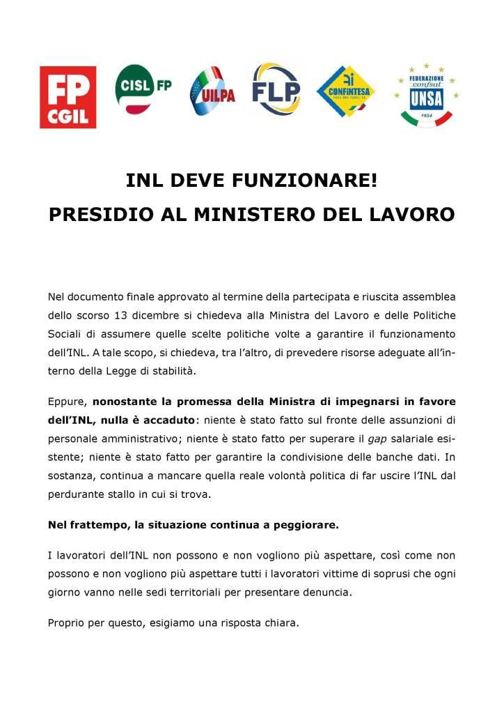 INL DEVE FUNZIONALE! PRESIDIO AL MINISTERO DEL LAVORO