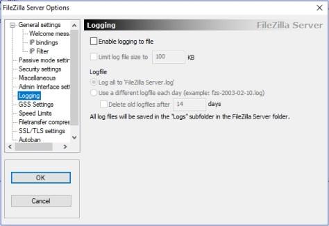 FileZilla - Logging