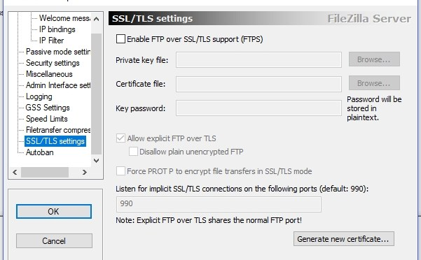 Filezilla SSL TLS