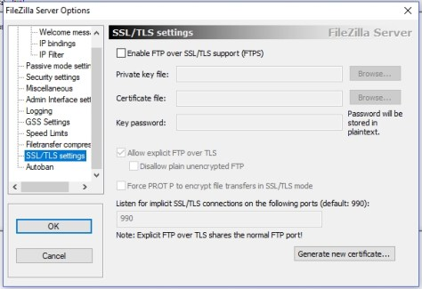 FileZilla Server - SSL-TLS settings
