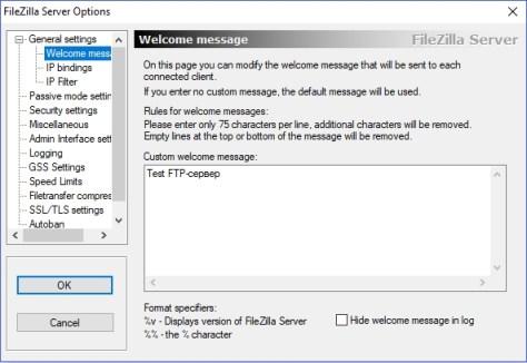 FileZilla welcome message