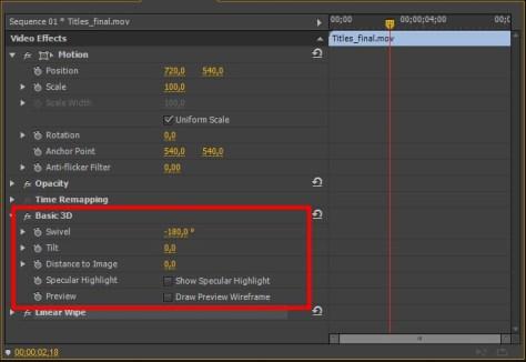 Adobe Premiere Pro Basic 3D - параметры