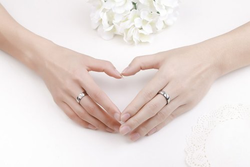 2Pcs Promise Rings For Couples Love You Forever Matching Heart 1
