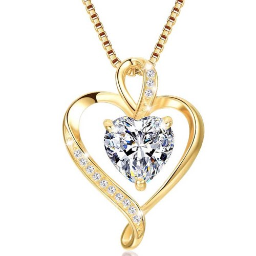 Gold Plated Heart CZ Necklace for Women High Polished 1