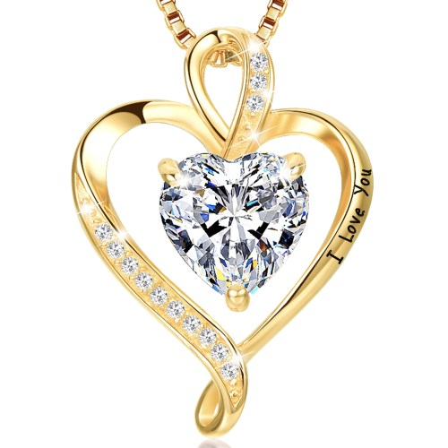 Gold Plated I Love You Heart CZ Necklace for Women High Polished 1