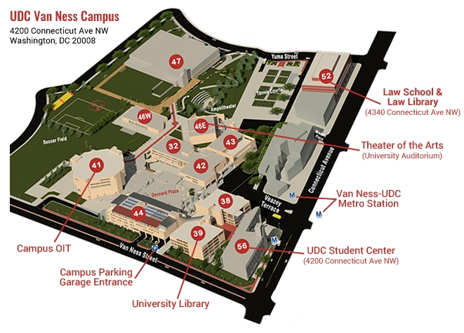 A diagram of UDC Van Ness Campus, 4200 Connecticut Ave NW Washington DC 20008, with text and arrows highlighting the following locations: the Law School and Law Library in Building 52, the Theater of the Arts in Building 46E, the UDC Student Center in Building 56, the University Library in Building 39, the Campus Parking Garage entrance below Building 44, Campus OIT in Building 41, and the Van Ness-UDC Metro Station in front of campus on Connecticut Avenue