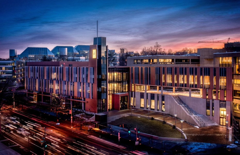 Photo of the UDC Student Center at dusk