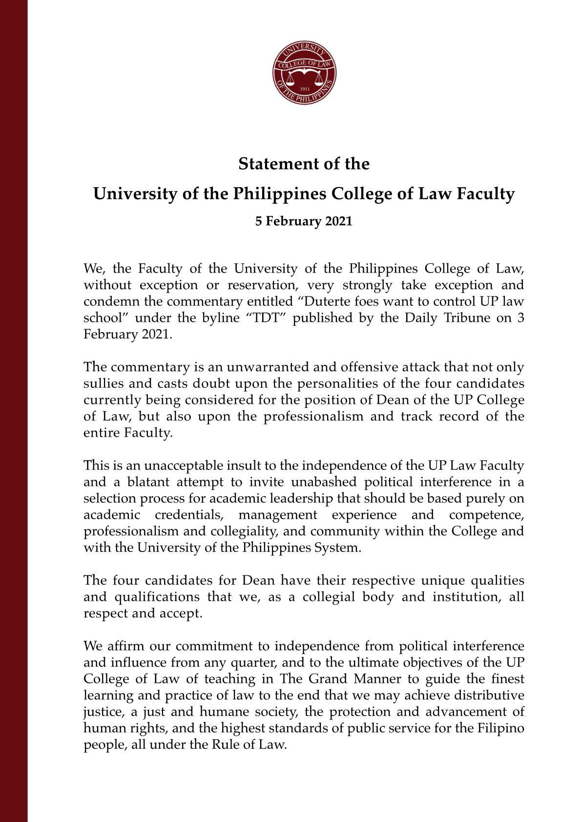 Statement of the University of the Philippines College of Law Faculty on Daily Tribune Commentary 5 February 2020