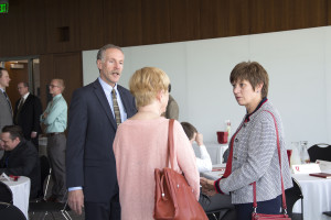Bob Adler, dean of the S.J. Quinney College of Law, talks to Pamela T. Greenwood and Charlotte Miller at a mentorship luncheon at the law school. Greenwood and Miller both graduated from the law school and participated in a new mentoring opportunity for students.