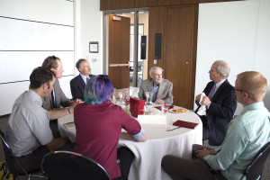 Students interact with University of Utah College of Law alumni Jackson Howard and Richard Burbidge. Photo by Sarah May.