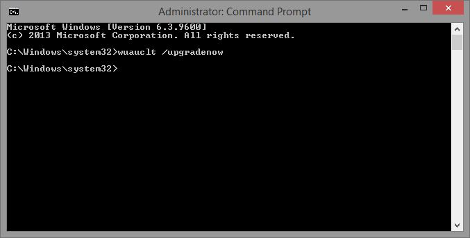 Command Prompt (Administrator), wuauclt /upgradenow