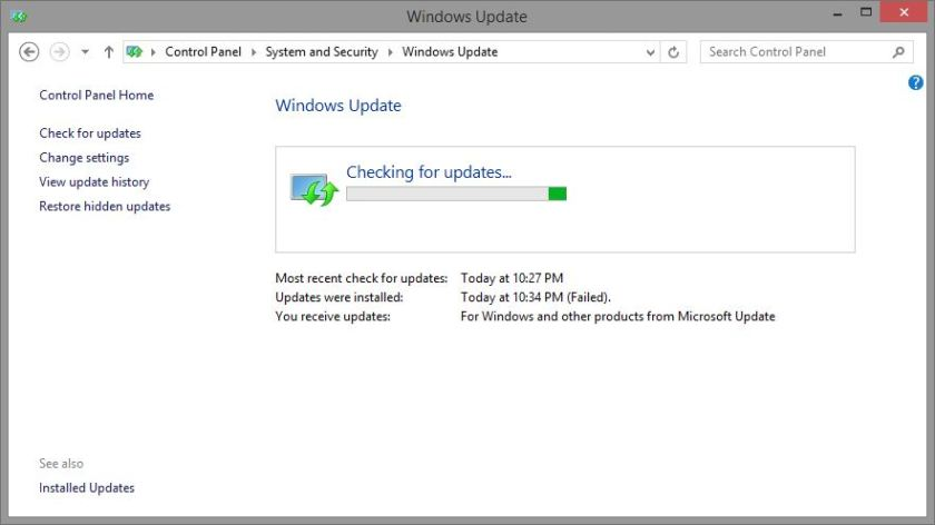 Windows Update, Check for update