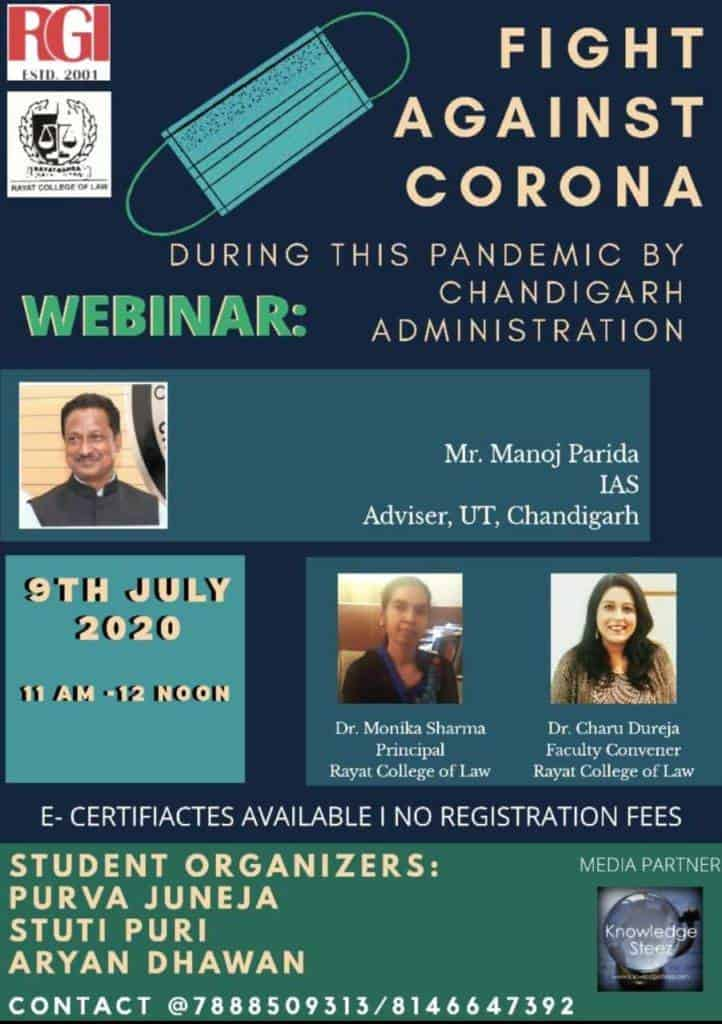 webinar WEBINAR ON FIGHT AGAINST CORONA DURING THIS PANDEMIC BY CHANDIGARH ADMINISTRATION - Register by 9TH JULY 2020