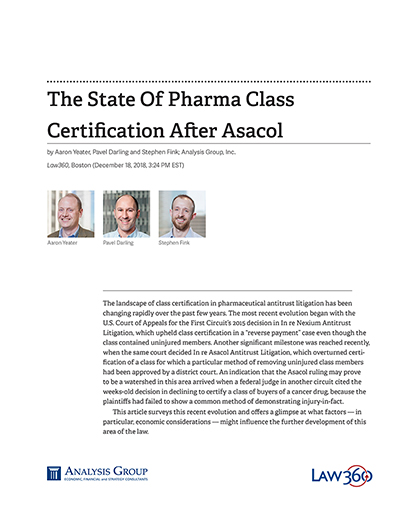 The State Of Pharma Class Certification After Asacol