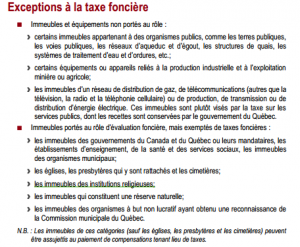 Quebec municipalities. Property tax exemptions