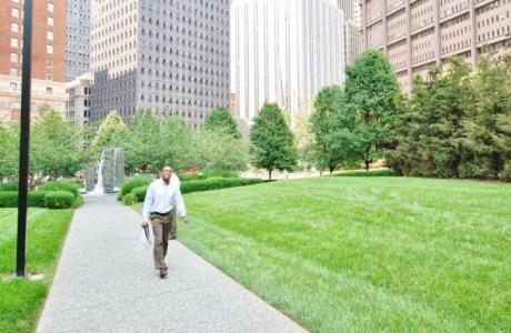 Race discrimination walking through a park
