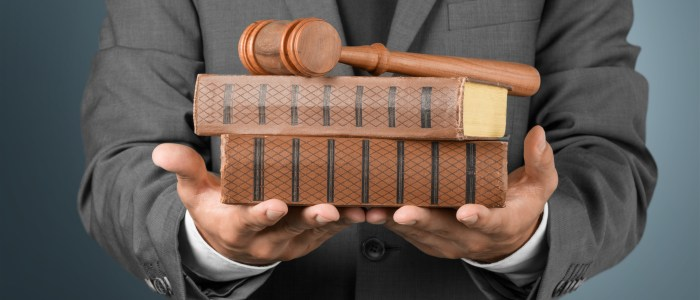 lawyer holding books and gavel