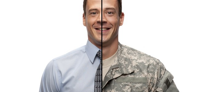 Man in both civilian clothes and military clothes